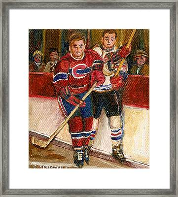 Hockey Stars At The Forum Framed Print by Carole Spandau