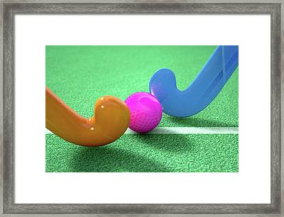 Hockey Stick And Ball Framed Print by Allan Swart