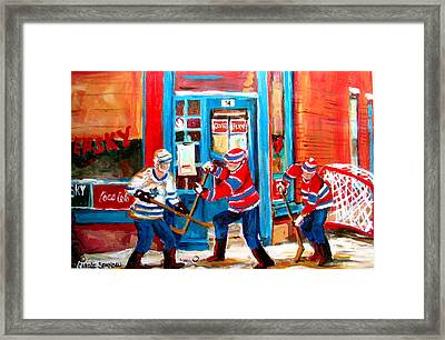 Hockey Sticks In Action Framed Print by Carole Spandau