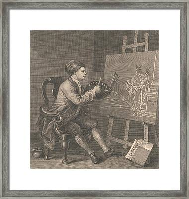 Hogarth Painting The Comic Muse Framed Print