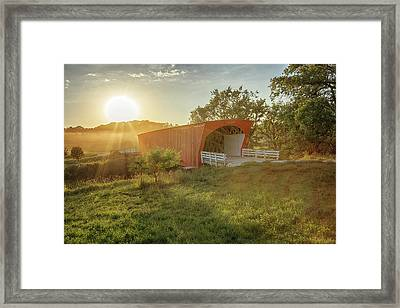 Framed Print featuring the photograph Hogback Covered Bridge 2 by Susan Rissi Tregoning