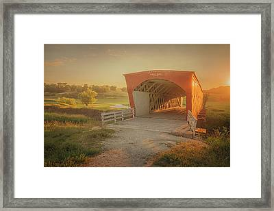 Framed Print featuring the photograph Hogback Covered Bridge by Susan Rissi Tregoning
