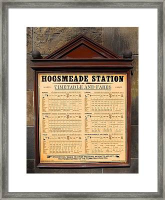 Framed Print featuring the photograph Hogsmeade Station Timetable by Juergen Weiss