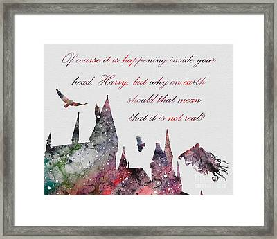 Hogwarts Castle Dementor Quote Watercolor Framed Print by Vivid Editions