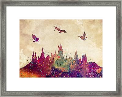 Hogwarts Castle Watercolor Art Print Framed Print