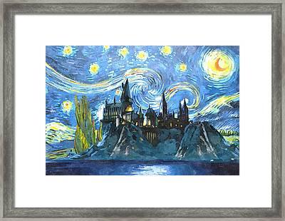 Blue Hogwarts Poster Framed Print by Dimex Studio
