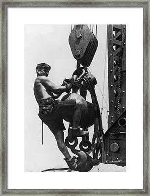 Hoist Ride Framed Print by Lewis W Hine