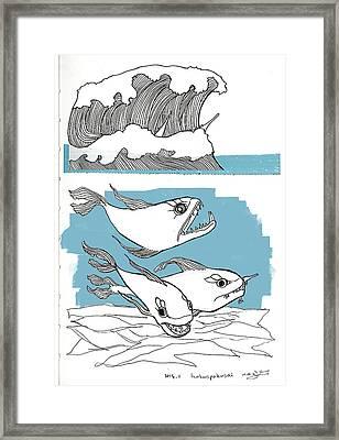 Hokus-pokusai Framed Print by Nazli Oluz