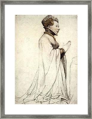 Holbien The Younger Jeanne De Boulogne Duchess Of Berry Framed Print