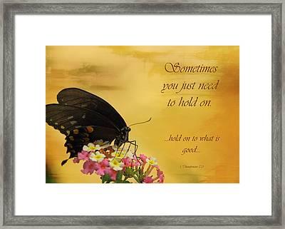 Hold On Framed Print by Karen Beasley