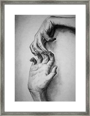 Framed Print featuring the drawing Hold On by Rachel Hames