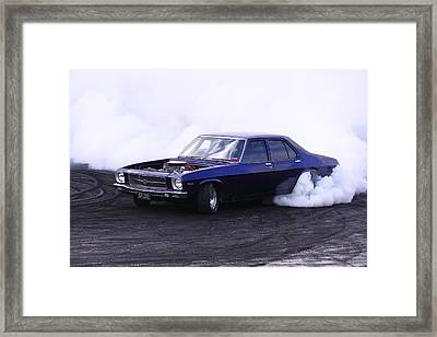 Holden Belmont With 454 Chev Doing A Burnout Framed Print by Stephen Athea