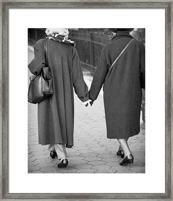Holding Hands Friends Framed Print
