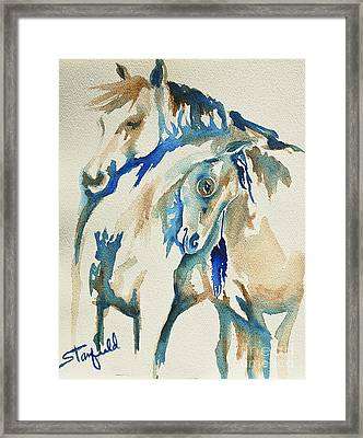 Holding On     War Ponies Framed Print by Johnnie Stanfield