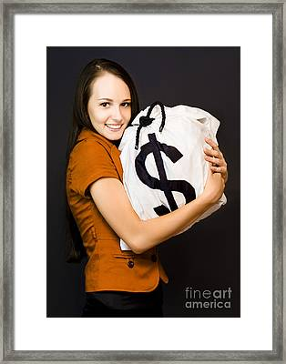 Holding On To Money Framed Print