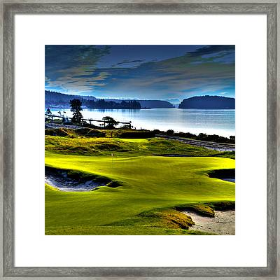 Hole #17 At Chambers Bay Framed Print