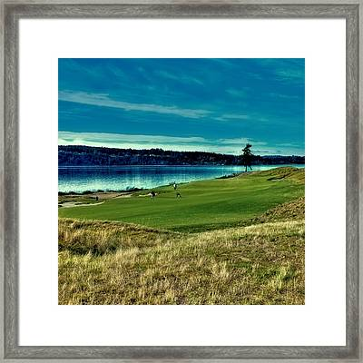 Hole #2 At Chambers Bay Framed Print by David Patterson