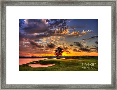 Hole In One Golf Sunset  Framed Print