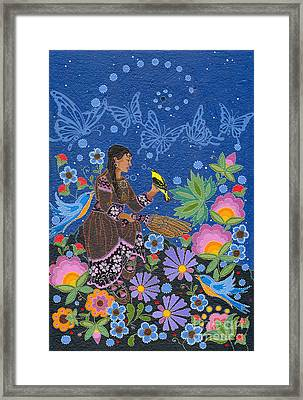 Framed Print featuring the painting Hole In The Sky's Daughter by Chholing Taha