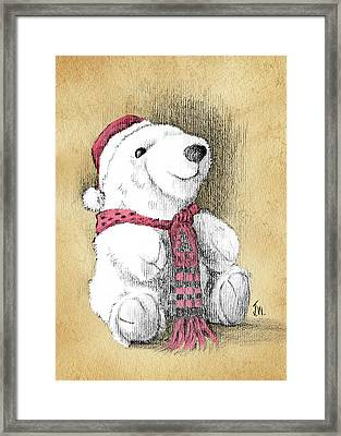 Framed Print featuring the drawing Holiday Bear Card by Joe Winkler