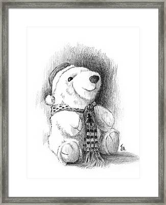 Framed Print featuring the drawing Holiday Bear by Joe Winkler