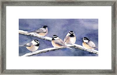Holiday Chickadees Framed Print
