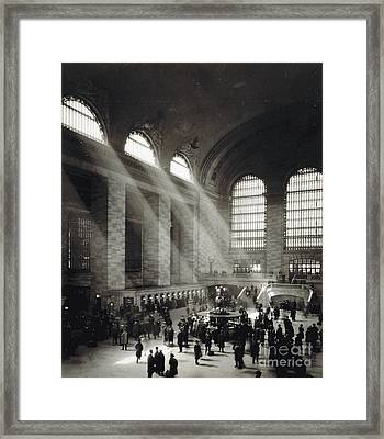 Holiday Crowd At Grand Central Terminal, New York City, Circa 1920 Framed Print by American School
