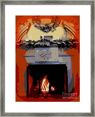 Holiday Fireplace #1 Framed Print
