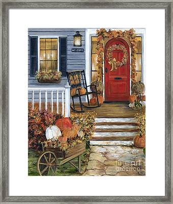 Pumpkin Porch Framed Print