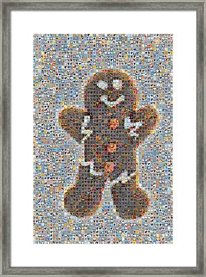 Holiday Hearts Gingerbread Man Framed Print by Boy Sees Hearts