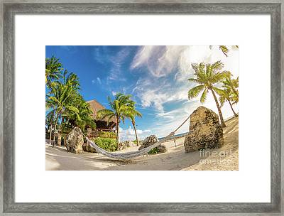 Holiday In Mexico On Tropical Beach Under The Palms Framed Print