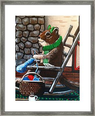Holiday Knitting Framed Print