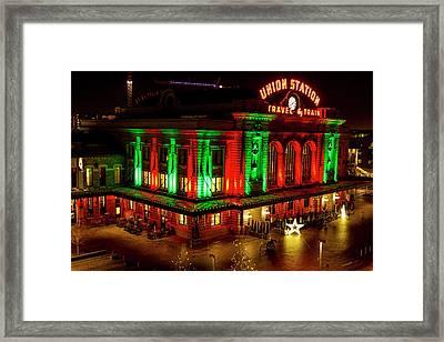 Holiday Lights At Union Station Denver Framed Print