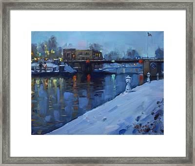 Holiday Lights In Tonawanda Canal  Framed Print by Ylli Haruni