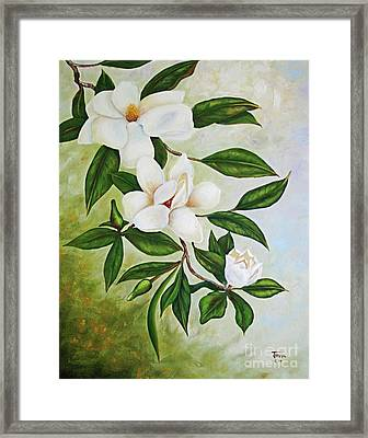 Holiday Magnolias Framed Print