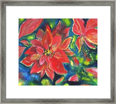 Holiday Poinsettia Floral Centerpiece Framed Print by Patricia Taylor