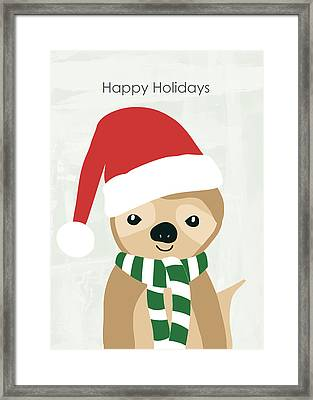 Holiday Sloth- Design By Linda Woods Framed Print by Linda Woods