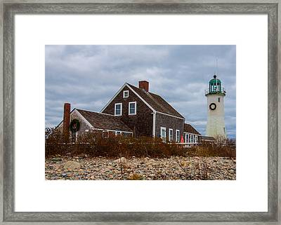 Holiday Wreath On The Lighthouse Framed Print by Brian MacLean