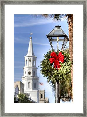 Holiday Wreath St Michaels Church Charleston Sc Framed Print