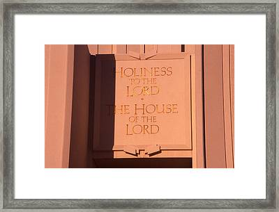 Holiness To The Lord Framed Print by Cynthia Cox Cottam