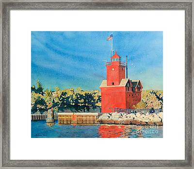 Framed Print featuring the painting Holland Lighthouse - Big Red by LeAnne Sowa