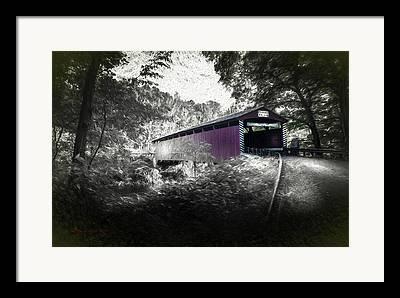 Covered Bridge Mixed Media Framed Prints