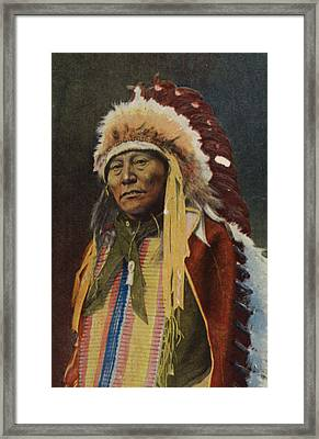 Hollow Horn Bear Framed Print by American School