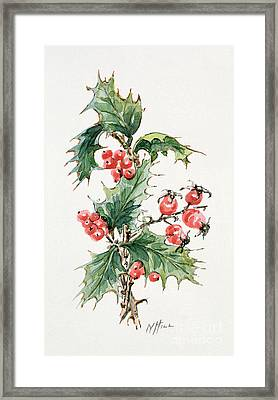 Holly And Rosehips Framed Print by Nell Hill