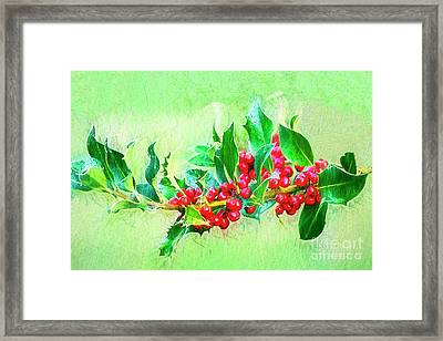 Framed Print featuring the photograph Holly Berries Photo Art by Sharon Talson