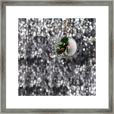Framed Print featuring the photograph Holly Christmas Bauble  by Ulrich Schade