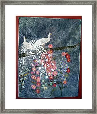 Holly Hocks Framed Print by Rhoda Forbes