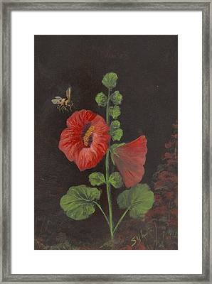 Holly-hocks  Framed Print by Syl Lobato