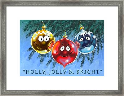 Holly Jolly And Bright Framed Print by Richard De Wolfe