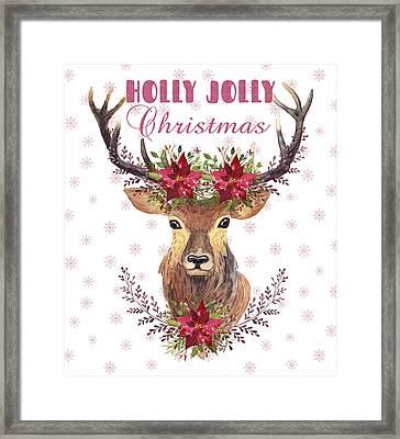 Framed Print featuring the painting Holly Jolly Christmas Watercolor Deer Head Poinsettia Flowers by Georgeta Blanaru